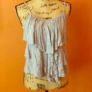 Tops - Price ✂️ STEAL Grey Ruffled Boho Tank Top